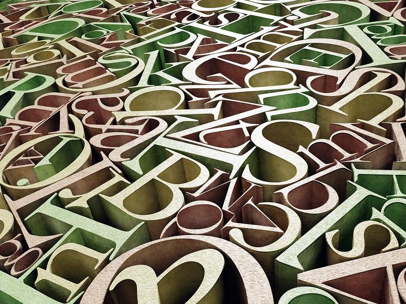 letters voor de namen van de zalen in De Boerhoorn